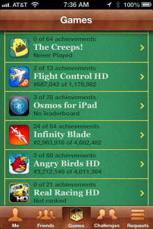 Apple's Game Center app for the iPhone -- lots of fake wood and green felt.