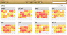 Apple's Calendar app for Mac OS X, with faux-leather touches.