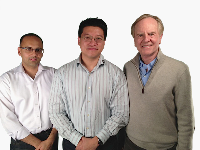 Misfit Wearables' founders. L to R: Sridhar Iyengar, Sonny Vu, and John Sculley