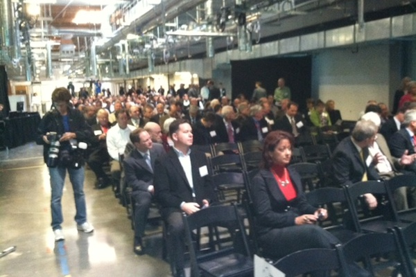 Crowd at opening of Soitec concentrating photovoltaic factory in San Diego
