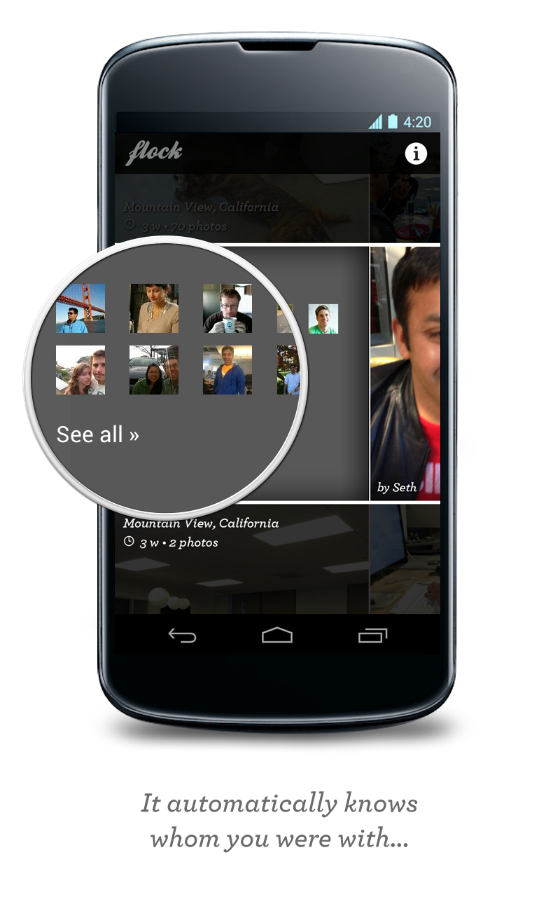 Flock automatically detects who the user was with when a group of photos was taken.