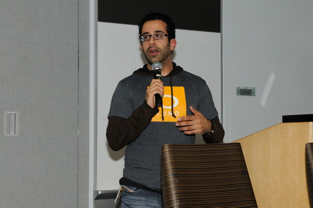 Bing Fund general Manager Rahul Sood addresses the crowd. (If you missed him in NY, you'll have another chance to hear from him at Mobile Madness Northwest on Dec. 12)