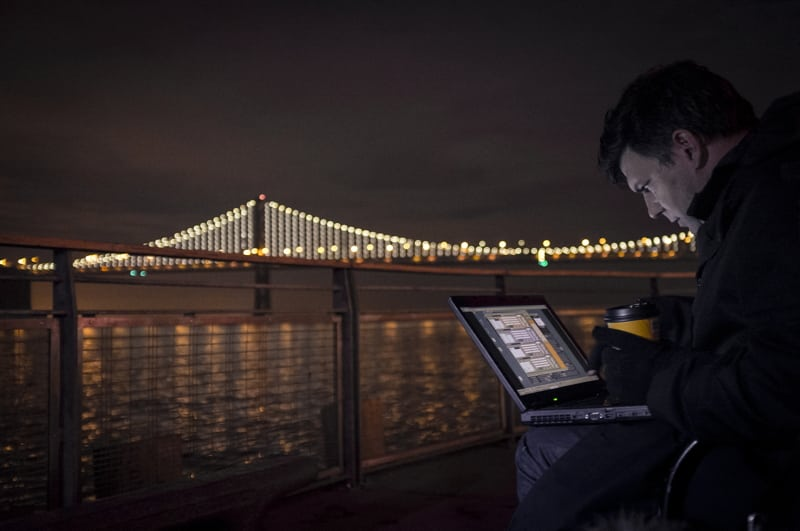Leo Villareal tunes the lights from his laptop