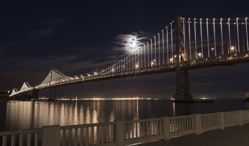 Lunar glow, LEDs compete to illuminate the bridge
