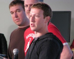 Facebook co-founder and CEO Mark Zuckerberg at this week's Graph Search announcement. Lead project engineers Tom Stocky (left) and Lars Rasmussen (middle), both ex-Googlers, are in the background.