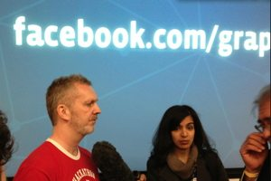 Facebook engineer Lars Rasmussen talks with reporters after today's Graph Search announcement.