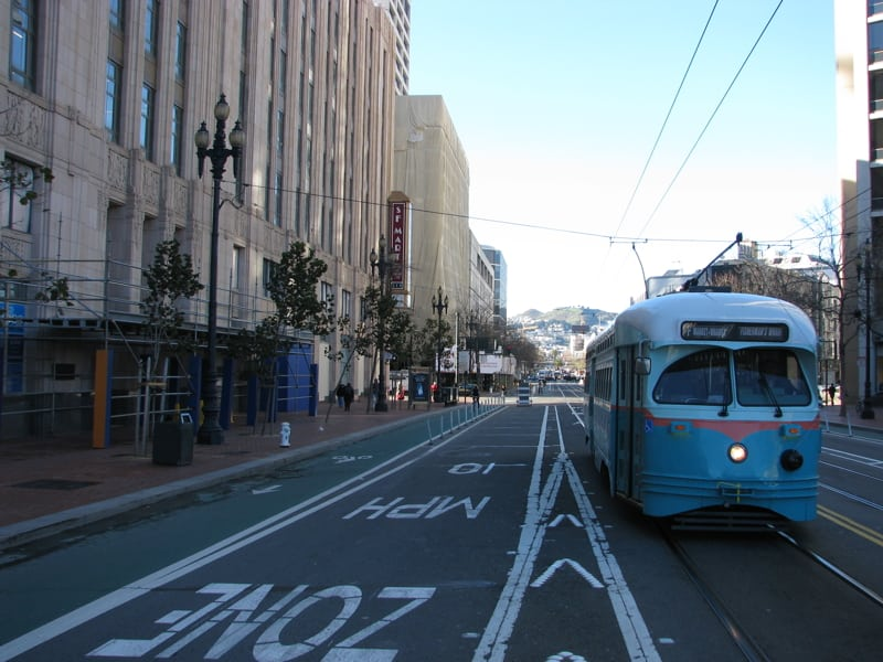 Yammer Grand Opening -- Streetcars on Market Street outside the SF Mart building