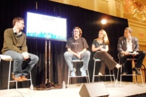 Frank Gruber, Brad Feld, Christine Herron, and Rory O'Driscoll at Eureka Park