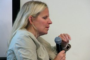 "Risa Stack, a former partner at Kleiner Perkins Caufield & Byers, speaking at Xconomy's ""Reinventing Biotech's Business Model"" event in October 2012"