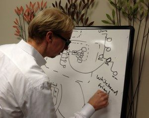 Neo CEO Emil Eifrem uses a whiteboard to explain graph databases.
