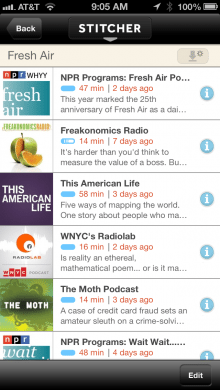 Stitcher on the iPhone