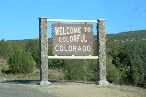 """Welcome to Colorful Colorado"" sign seen on Interstate 70."
