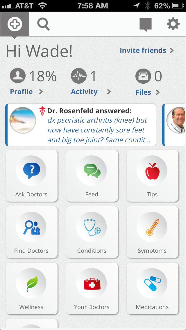 HealthTap's mobile app on the iPhone