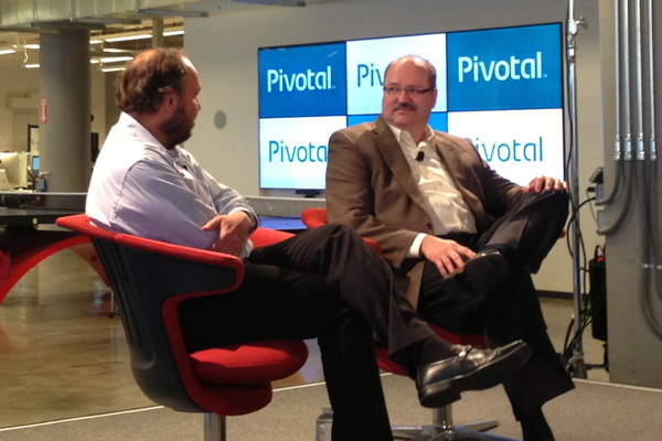 Paul Maritz, CEO of Pivotal, interviews GE's Bill Ruh at Pivotal's launch event in San Francisco, April 24, 2013.