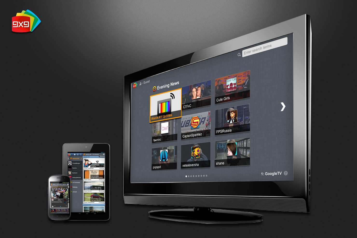9x9.tv's discovery app runs on Android smartphones and tablets and Google TV.