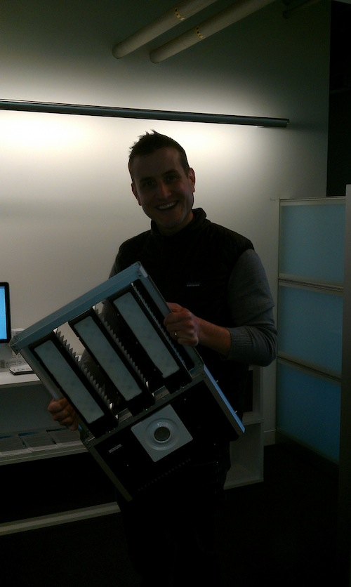 Digital Lumens' Brian Chemel with the latest hardware (and in need of better lighting from photographer)