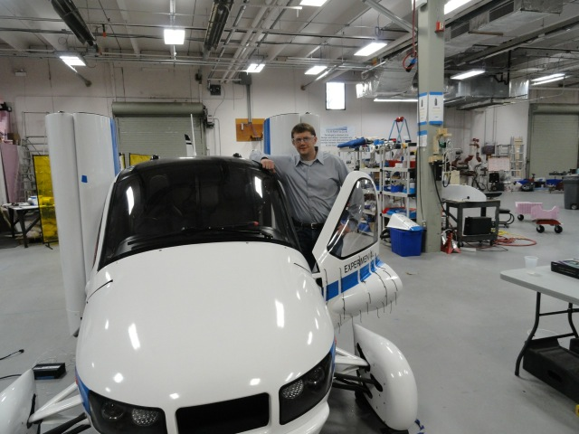 Carl Dietrich, CEO of Terrafugia, with Transition prototype