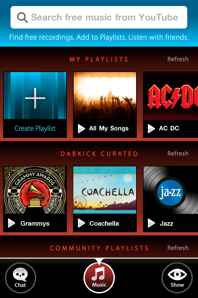 Selecting songs to share on DabKick's new music home screen.