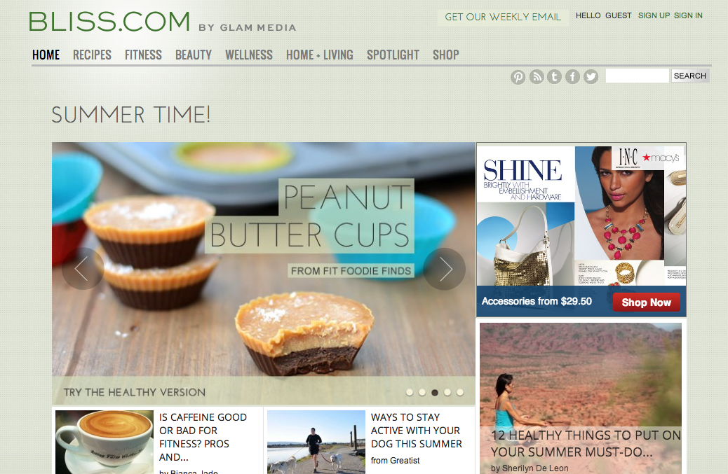 """Bliss.com, one of the """"hub"""" sites where Glam features contented curated from its network of niche blogs."""