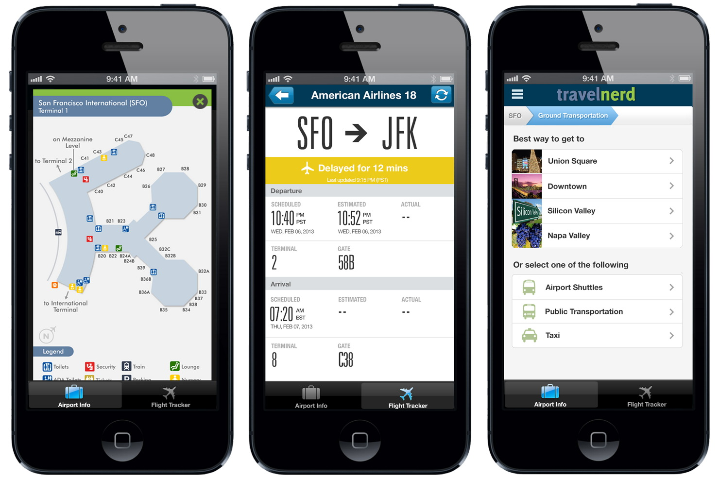 "The ""Airports by TravelNerd"" app offers airport map, flight status updates, and local transportation info."