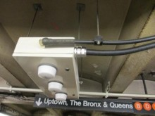 RF nodes and fiber optic cabling connects this subway station to the wireless network.