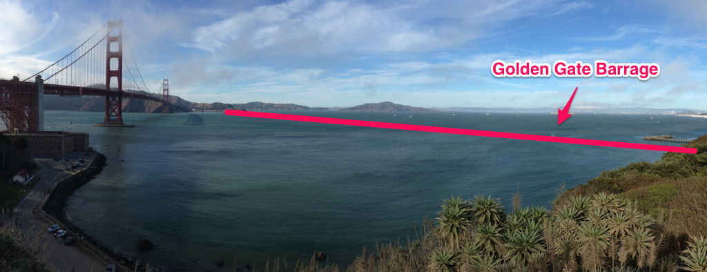 The ideal location for the Golden Gate Barrage, according to design projections from the San Francisco Bay Conservation and Development Commission