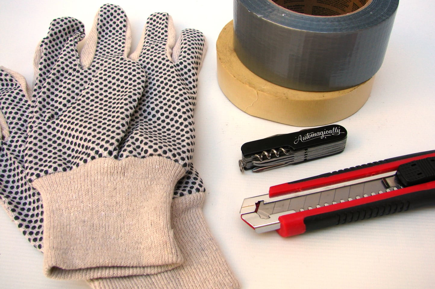 Work Gloves, Knives, and Duct Tape
