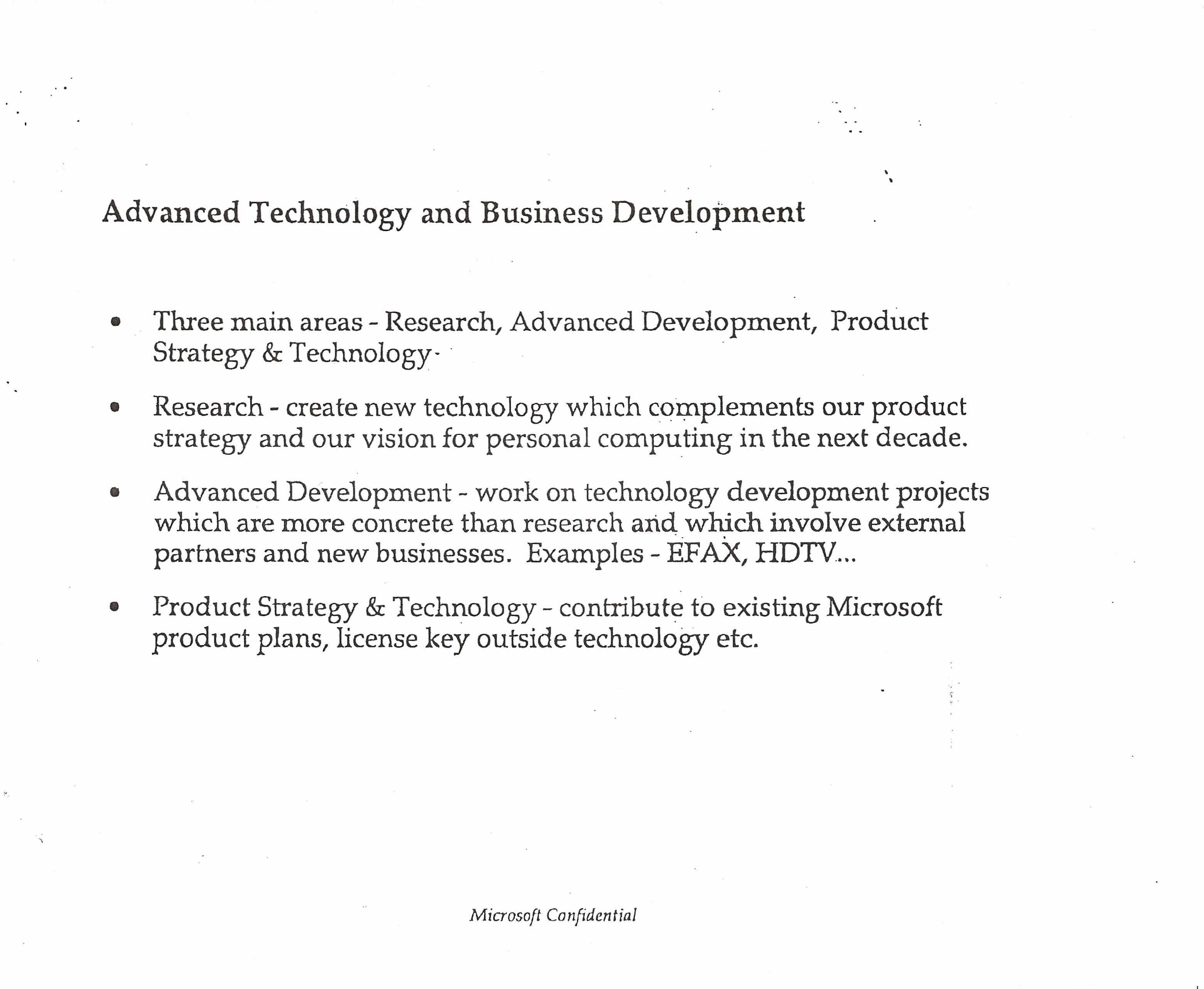 Research is different from advanced technology