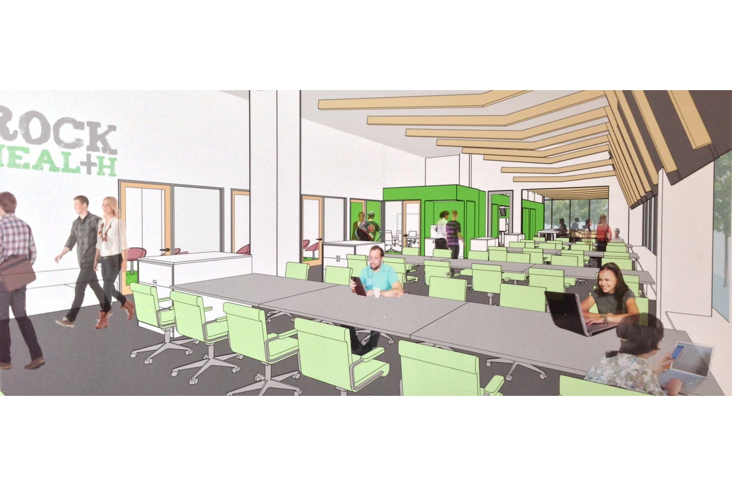An architect's rendering of Rock Health's new office space at 455 Mission Bay Boulevard, to be occupied this December.