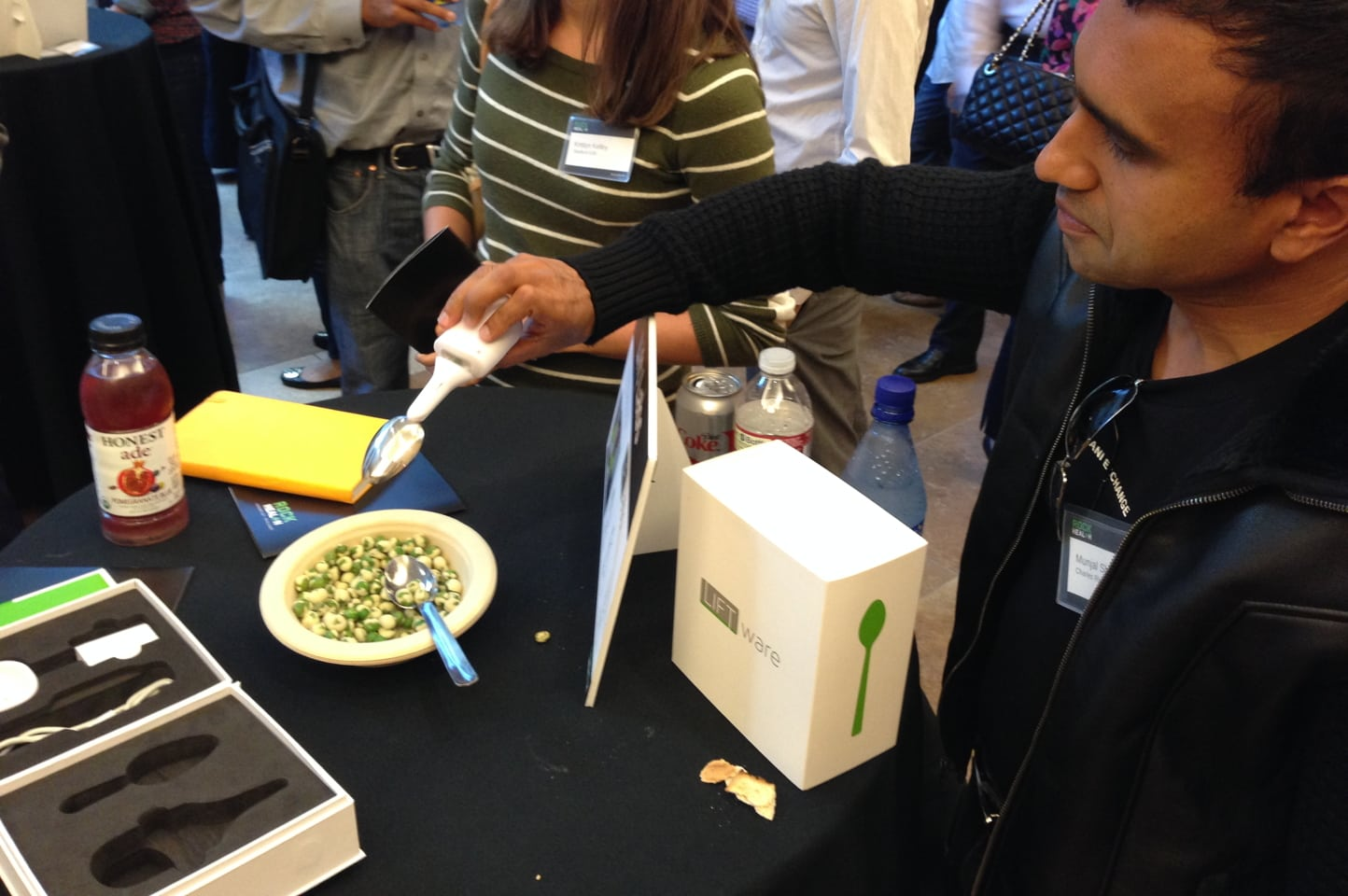 """The Lift Labs """"Liftware"""" device cancels out 70 percent of the movement from essential tremor, according to CEO Anupam Pathak. The company is partnering with the International Essential Tremor Foundation to make the $295 device available at no cost to patients who can't afford to pay for one out of pocket."""
