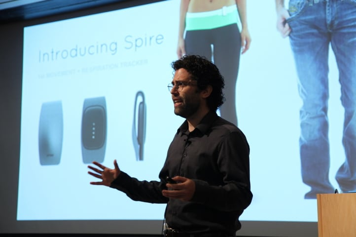 Spire is developing a wearable sensor that monitors a users' breathing rate---a measure of stress levels---and connects to software that issues real-time notifications when users are agitated, urging them to calm down by taking a deep breath. Beta testers at LinkedIn reported that the device improved their focus and productivity