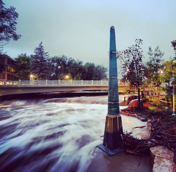 This pillar in downtown Boulder, CO, is a flood marker alongside Boulder Creek. A record 17.1 inches of rainfall in Boulder created a 100-year flood in the city. Picture by Jud Valeski.