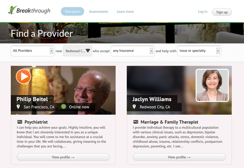 Provider profiles on Breakthrough include a video introduction and data on the provider's specialties, training, education, and hourly rates.
