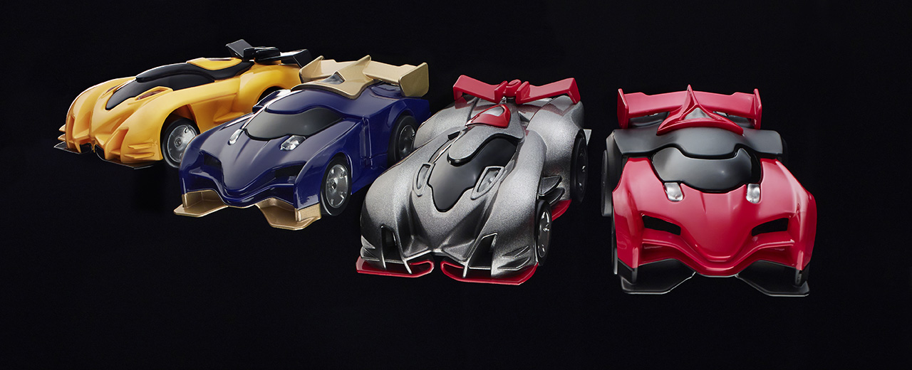 The Anki Drive cars (left to right): Kourai, Katal, Boson, and Rho.