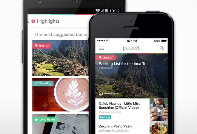 "The latest version of Pocket's reader app organizes your saved items into ""Highlight"" categories such as Best Of, Trending, and Long Reads."