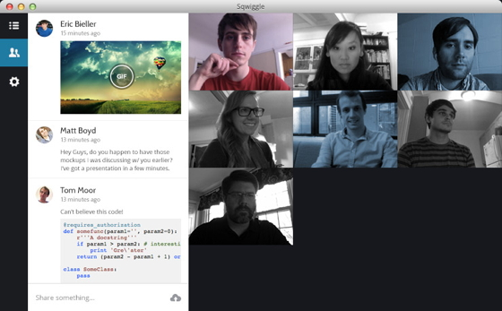 The Swiggle desktop app in action. The three founders appear in the snapshots. Top left: Eric Bieller. Top right: Matt Boyd. Second row, middle: Tom Moor.