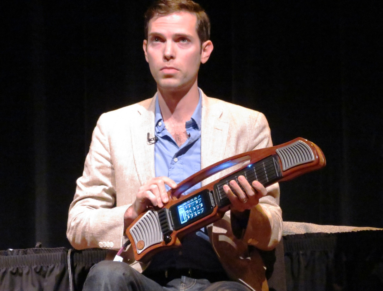 Artiphon CEO Mike Butera demos the Instrument 1 at New York Tech Meetup (photo by João-Pierre S. Ruth).