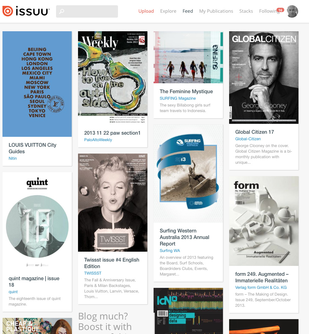 "The Issuu ""feed"" shows magazines newly added to the platform."