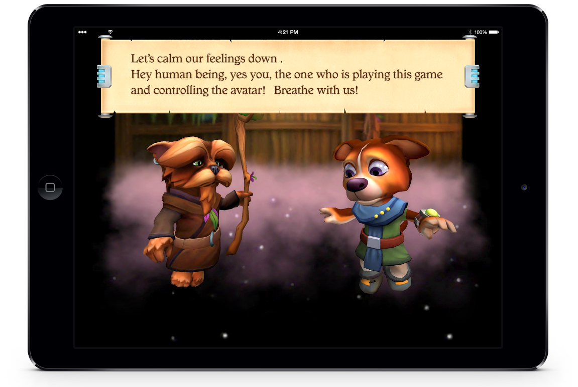 YouDog counsels the player on how to regulae escalated emotions.