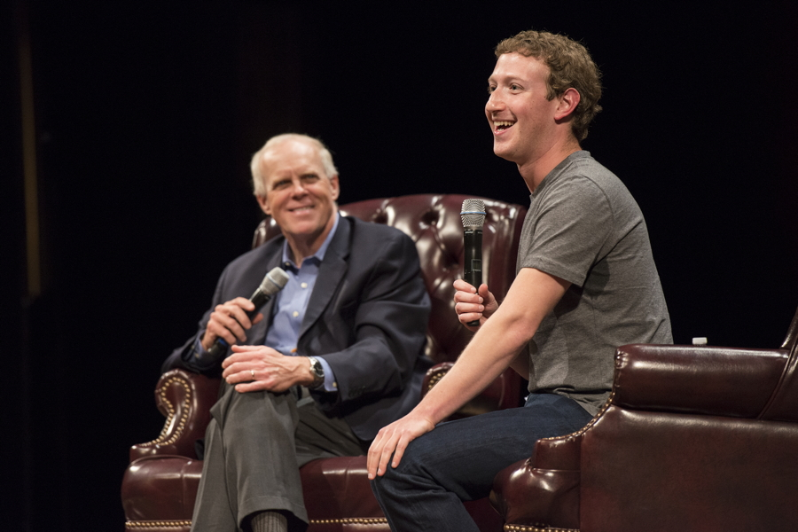 President John Hennessy in conversation with Mark Zuckerberg, Founder and CEO of Facebook. Photo by Linda Cicero, Stanford News Service; used by permission.