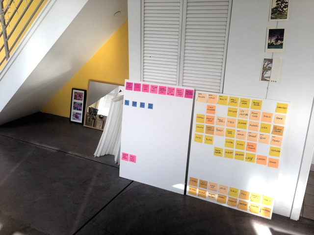My foamcore Post-it boards, in situ