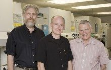 Cellular Dynamics's scientific advisors. From left to right: George Church of Harvard, James Thomson of the University of Wisconsin-Madison, and Leroy Hood of the Institute for Systems Biology. Photo courtesy of Cellular Dynamics.