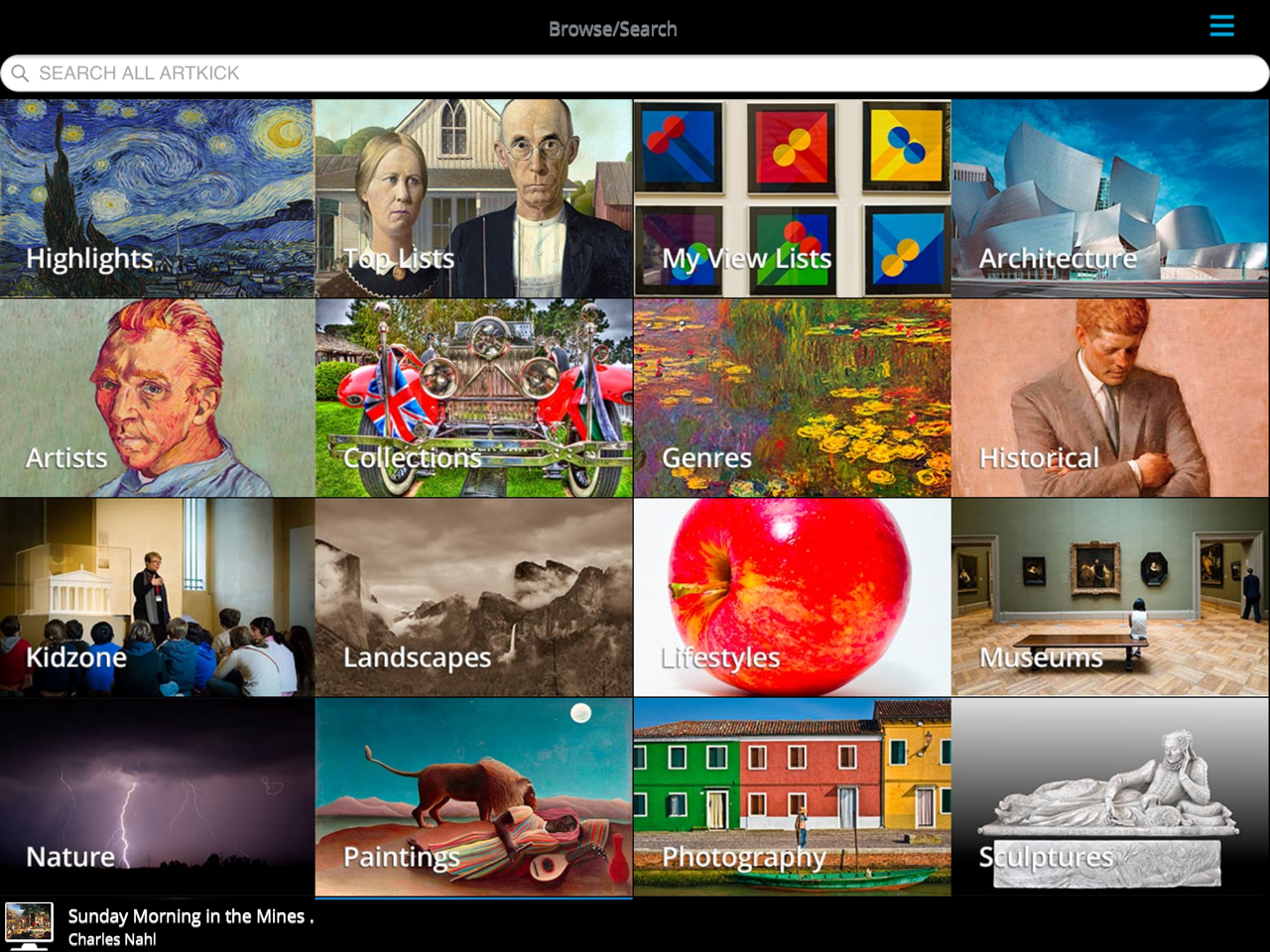 "Artkick's main screen offers a variety of predefined ""viewlists."""