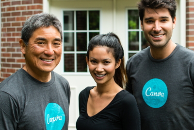 Guy Kawasaki with Canva co-founders Melanie Perkins and Cliff Obrecht.