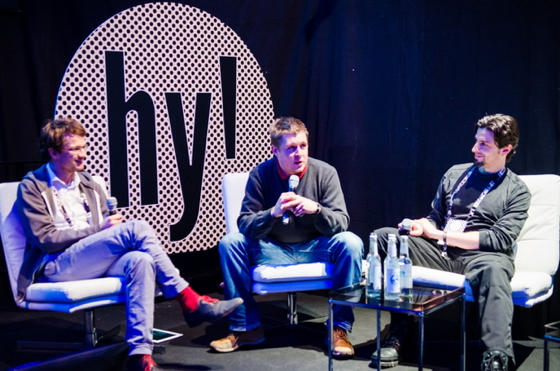 Panel at hy! demo day. Left to right: Hans Raffauf, Kristo Ovaska, and me (Adam Wiggins). Photo by Dan Taylor.