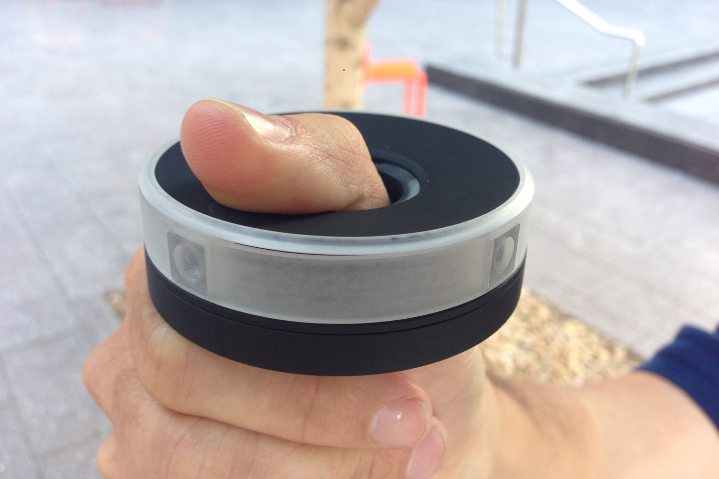The Centr 360-degree video camera fits over the user's thumb.