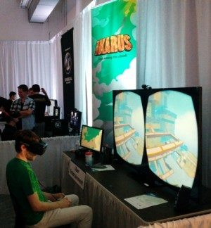 Playing Ikarus, a game by Uber Entertainment meant to help people get comfortable with virtual reality.