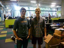 Gabe Blanchet and Jamie tk of Grove Labs at Greentown Labs. Credit: Martin LaMonica