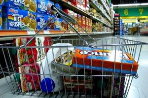 Grocery products in a basket