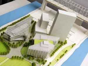A model of the forthcoming Cornell Tech engineering campus. (photo by João-Pierre S. Ruth)
